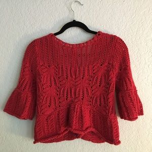 Free People Sweaters - Free people crop red knit button cardigan XS